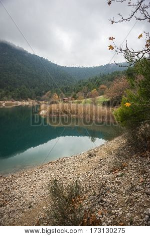 Autumn Landscape With Green Waters Of Lake Tsivlos, Peloponnese, Greece