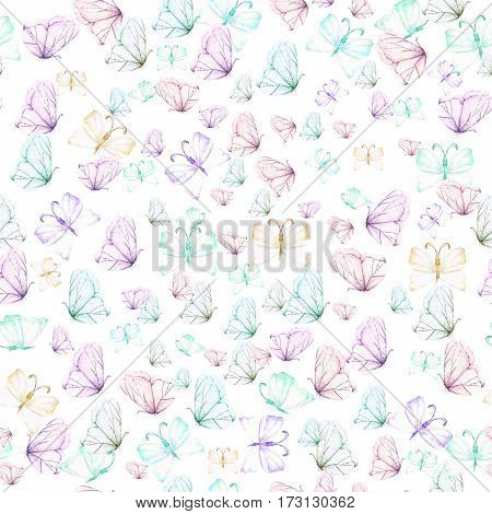 Seamless pattern with watercolor tender butterflies, hand drawn on a white background