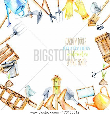Frame border with watercolor objects of garden tools, hand drawn isolated on a white background