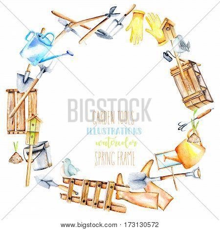 Frame border, wreath with watercolor objects of garden tools, hand drawn isolated on a white background