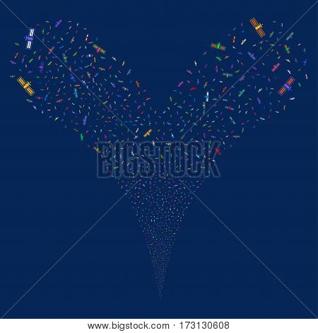 Satellite fireworks stream. Vector illustration style is flat bright multicolored iconic symbols on a blue background. Object double fountain made from random symbols.