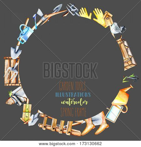 Frame border, wreath with watercolor objects of garden tools, hand drawn isolated on a dark background
