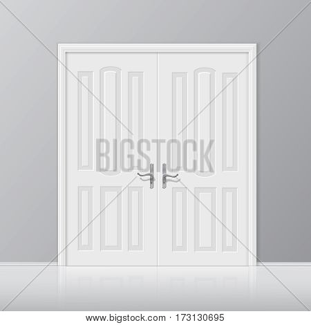 white closed interior door with frame isolated on background illustration. 3D