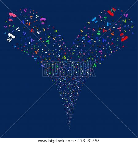 Soldier fireworks stream. Vector illustration style is flat bright multicolored iconic symbols on a blue background. Object double fountain created from random pictograms.