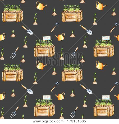 Seamless pattern with isolated watercolor seedling in a wood boxes and garden tools, painted on a dark background
