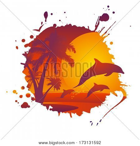 Eco tourism illustration concept with dolphins at sunset, rasterized version