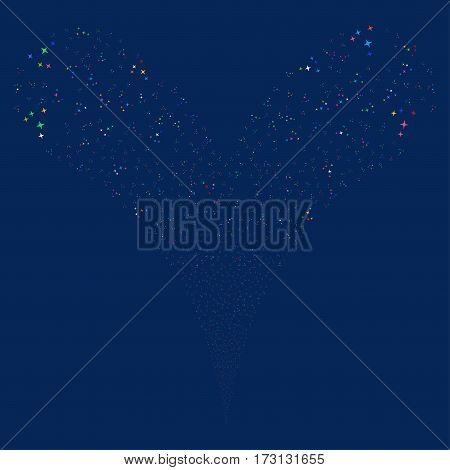 Space Stars fireworks stream. Vector illustration style is flat bright multicolored iconic symbols on a blue background. Object double fountain organized from random icons.