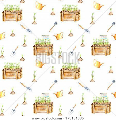 Seamless pattern with isolated watercolor seedling in a wood boxes and garden tools, painted on a white background