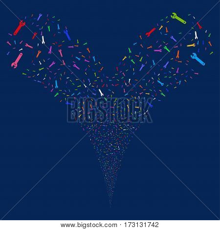 Spanner fireworks stream. Vector illustration style is flat bright multicolored iconic symbols on a blue background. Object double fountain done from random icons.