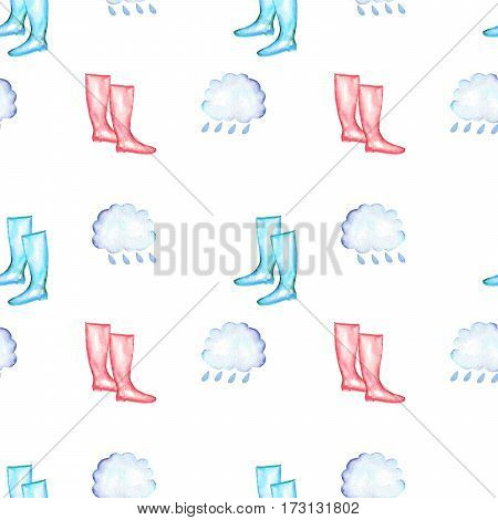 Seamless pattern with watercolor rain elements: rain cloud and rubber boots, hand drawn isolated on a white background