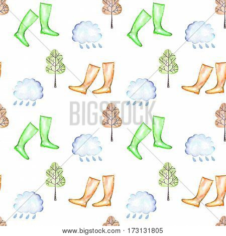 Seamless pattern with watercolor rain elements: rain cloud, autumn trees and rubber boots, hand drawn isolated on a white background