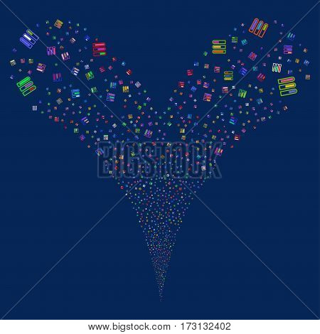 Test Tubes fireworks stream. Vector illustration style is flat bright multicolored iconic symbols on a blue background. Object double fountain created from random icons.