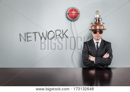 Network text text with vintage businessman and alert light