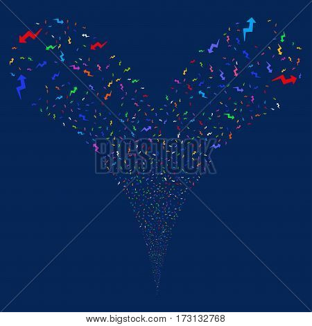 Trend fireworks stream. Vector illustration style is flat bright multicolored iconic symbols on a blue background. Object double fountain created from random symbols.