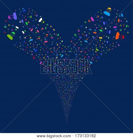 User fireworks stream. Vector illustration style is flat bright multicolored iconic symbols on a blue background. Object double fountain constructed from random pictograms.