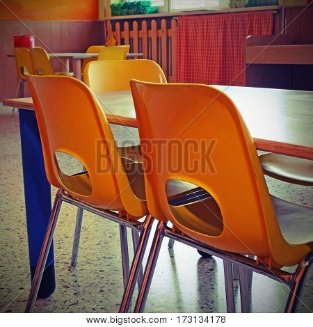Small Colored Chairs Of A School Class Without Kids