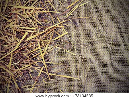 Copyspace With Background Of  Jute Fabric And Straw Barn