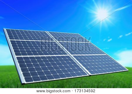 Solar battery. Environmental energy. Green planet. Sun