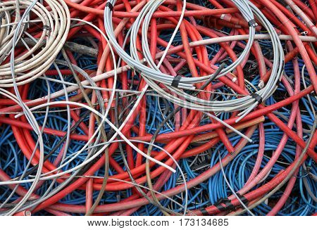 Abandoned High-voltage Electric Cables And Other Power Cords In