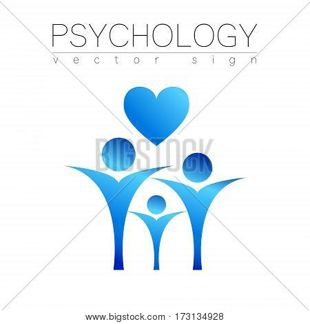 Modern people psi Sign of Psychology. Heart Family Human. Icon in vector. Design concept. blue color isolated on white background. Symbol for web, print, card.