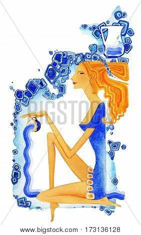 Young barefoot woman with red hair in a blue dress pours water from a cup as a symbol of the zodiac sign Aquarius. On ornamental background