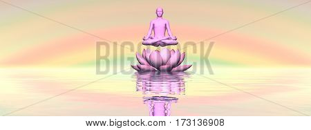 Man meditating upon single lily lotus flower and water in rainbow sunset background - 3D render