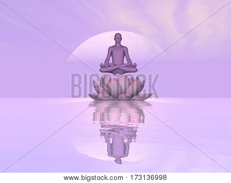 Man meditating upon single lily lotus flower and water in violet sunset background - 3D render