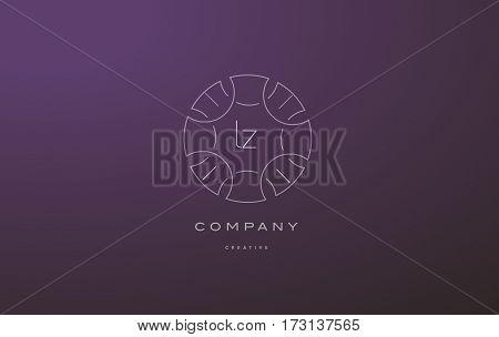 Lz L Z Monogram Floral Line Art Flower Letter Company Logo Icon Design