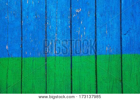 texture of the old wood with natural pattern blue green background retro style