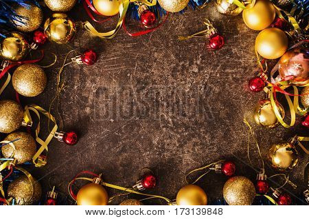 Frame of Christmas toys on table frame. Celebrate the New Year. Flat lay top view frame copyspace. New Year frame