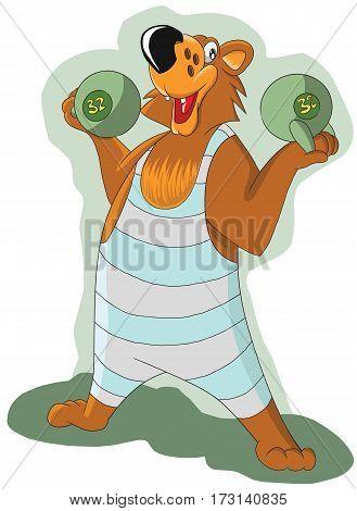 cheerful bear raises the two heavy kettlebells, illustration