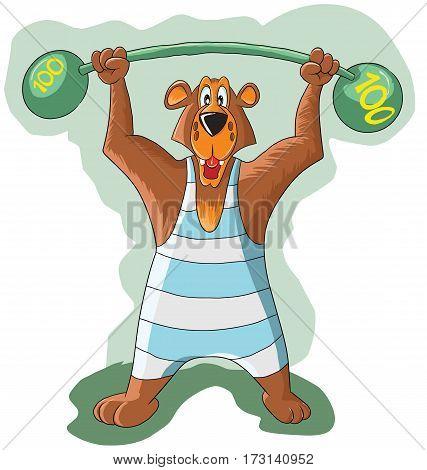 cheerful bear raises the a heavy barbell, illustration