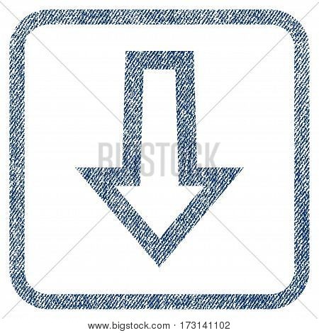 Arrow Down vector textured icon for overlay watermark stamps. Blue jeans fabric vectorized texture. Symbol with dust design inside rounded rectangular frame.