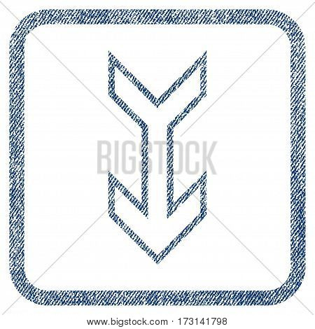 Arrow Down vector textured icon for overlay watermark stamps. Blue jeans fabric vectorized texture. Symbol with dust design inside rounded rectangle.