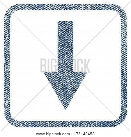 Arrow Down vector textured icon for overlay watermark stamps. Blue jeans fabric vectorized texture. Symbol with dirty design inside rounded rectangle.