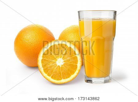 Orange juice in highball glass. Isolated on white background.