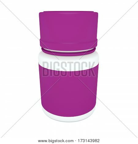 Medicine Concept: Blank Pink Pill Bottle 3d illustration isolated on white background