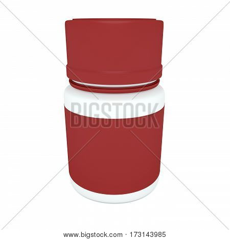 Medicine Concept: Blank Red Pill Bottle 3d illustration isolated on white background