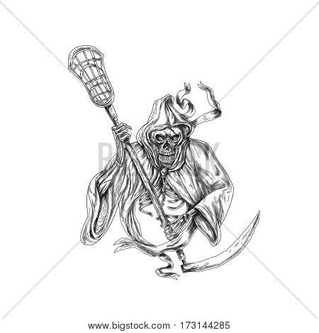 Tattoo style illustration of the grim reaper lacrosse player holding a crosse or lacrosse stick defense pole viewed from front on isolated background.