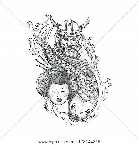 Tattoo style illustration of a head of a norseman viking warrior raider barbarian wearing horned helmet with beard koi carp fish diving and geisha girl viewed from front set on isolated white background.
