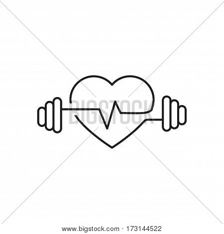 Vector heart outline, dumbbells and a cardiogram. Icon symbolizing health sport. Lifestyle. Line art jpg eps