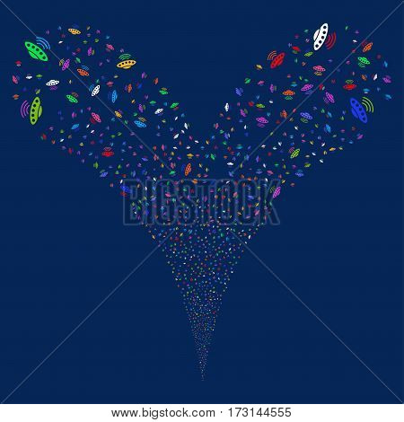 Alien Invasion fireworks stream. Vector illustration style is flat bright multicolored iconic symbols on a blue background. Object double fountain constructed from random symbols.