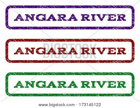Angara River watermark stamp. Text tag inside rounded rectangle frame with grunge design style. Vector variants are indigo blue red green ink colors. Rubber seal stamp with scratched texture.