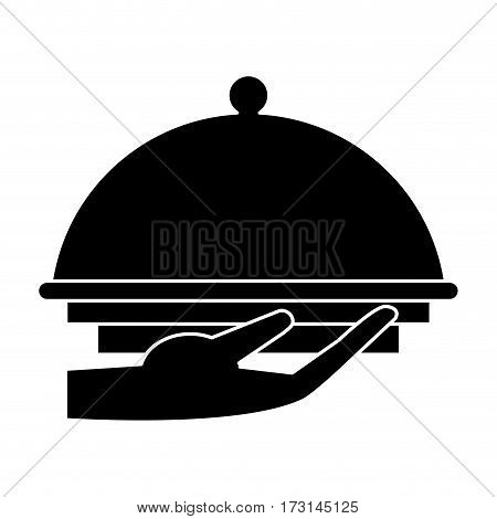 hand tray catering service pictogram vector illustration eps 10