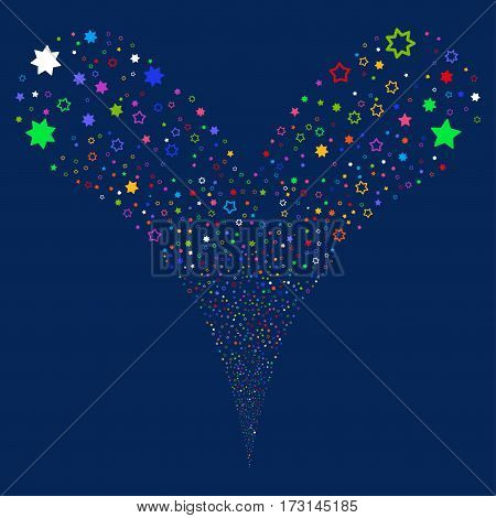 Decoration Stars fireworks stream. Vector illustration style is flat bright multicolored iconic symbols on a blue background. Object double fountain created from random design elements.