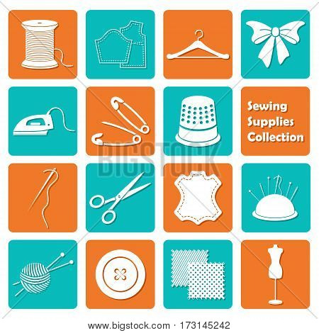 vector set of colored sewing equipment icons