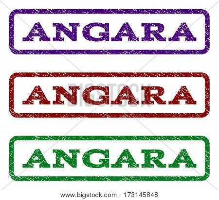 Angara watermark stamp. Text tag inside rounded rectangle frame with grunge design style. Vector variants are indigo blue red green ink colors. Rubber seal stamp with dust texture.