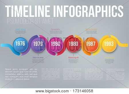 Colorful wobble template business concept wave timeline arrows. Infographics layout with 6 steps, workflow history with diagram, presentation and graph