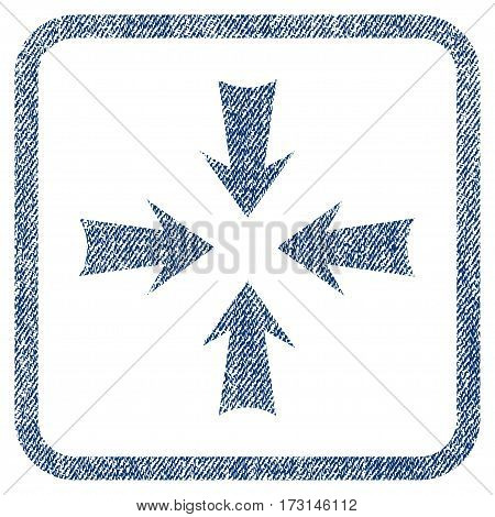 Reduce Arrows vector textured icon for overlay watermark stamps. Blue jeans fabric vectorized texture. Symbol with dust design inside rounded rectangular frame.