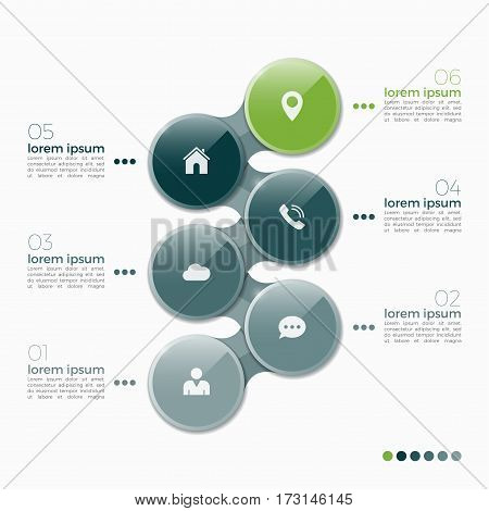 Vector 6 Option Infographic Design With Ellipses